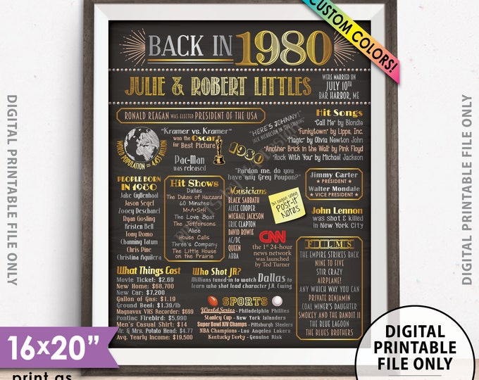 "38th Anniversary Poster, Flashback to 1980 Anniversary Party Decor, Married in 1980, Custom Chalkboard Style PRINTABLE 8x10/16x20"" 1980 Sign"