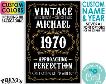 """Vintage Birthday Sign, Only Getting Better with Age, PRINTABLE 24x36"""" Editable Template, Whiskey Themed Bday Poster <Edit Yourself w/Corjl>"""