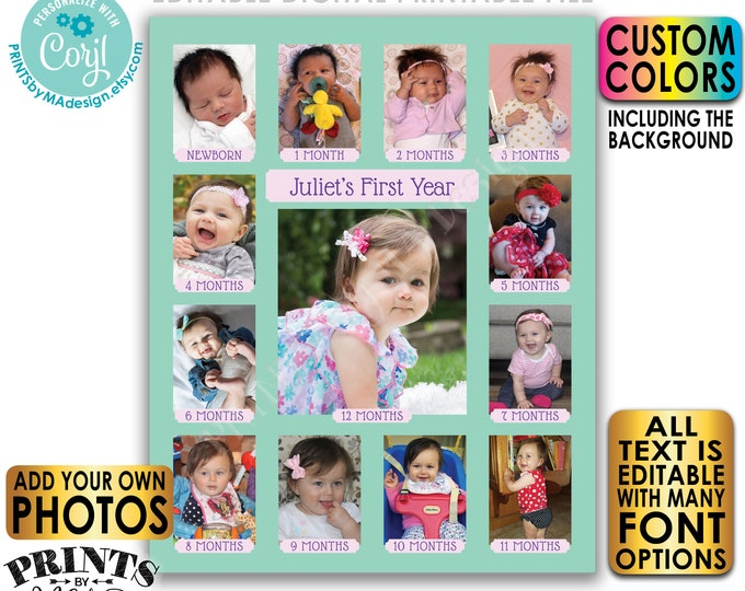 "Editable First Birthday Photo Collage, Pictures from the First 12 Months, Custom Colors, PRINTABLE 8x10/16x20"" Sign <Edit Yourself w/Corjl>"