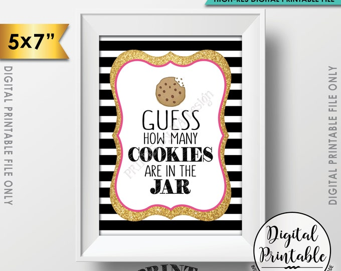 """Guess How Many Cookies are in the Jar Sign, Guess the Number of Cookies Game, Black Pink & Gold Glitter Printable 5x7"""" Instant Download"""