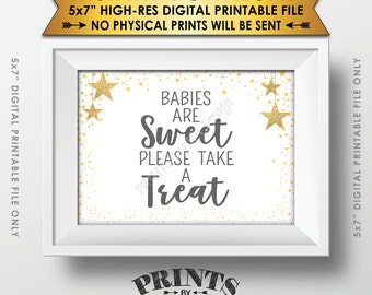 """Babies are Sweet Please Take a Treat Sign, Gray Dessert Sign, Baby Shower Decor, Gold Glitter Twinkle Stars, Instant Download 5x7"""" Printable"""