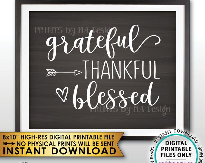 "Grateful Thankful Blessed Sign, Thanksgiving Wall Decor, Fall Decor Blessing Autumn Decor, Chalkboard Style PRINTABLE 8x10"" Instant Download"