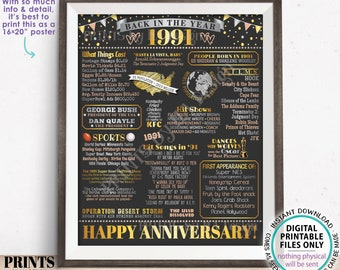 "Back in the Year 1991 Anniversary Sign, Flashback to 1991 Anniversary Decor, Anniversary Gift, PRINTABLE 16x20"" Poster Board <ID>"