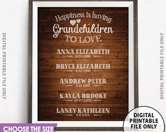 Grandkids Sign with Names, Grandchildren Sign Personalized Gift for Grandparents Gift, Custom Brown Rustic Wood Style Digital PRINTABLE File