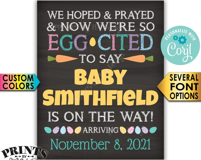 Easter Pregnancy Announcement Sign, We Hoped and Prayed, We're Egg-Cited to Say, PRINTABLE Baby Reveal Sign <Edit Yourself with Corjl>