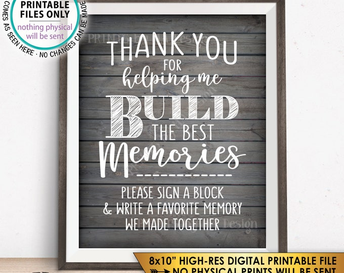 "Retirement Party Sign a Block Sign, Thank You for Helping Me Build Memories, Graduation, PRINTABLE 8x10"" Rustic Wood Style Instant Download"