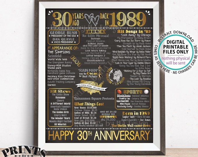 "30th Anniversary Gift, Married in 1989 Anniversary Flashback 30 Years Back in 1989, Gold, PRINTABLE 16x20"" Sign <ID>"