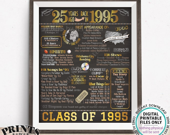 """25th High School Reunion Decoration, Class of 1995 Graduated 25 Years Ago, Back in the Year 1995 Poster Board, PRINTABLE 16x20"""" Sign <ID>"""