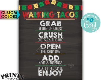 "Walking Tacos Sign, Cinco de Mayo Taco Bar Fiesta, Custom Colors PRINTABLE 8x10/16x20"" Chalkboard Style Taco Sign <Edit Yourself with Corjl>"