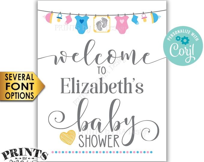"""Baby Shower Welcome Sign, Pink & Blue Clothesline Baby Shower Decor, Gender Neutral PRINTABLE 8x10/16x20"""" Sign <Edit Yourself with Corjl>"""