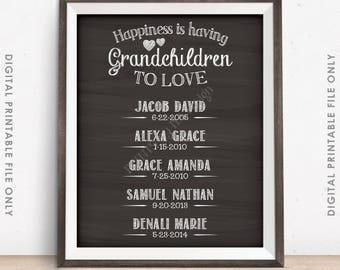 Grandchildren Sign, Personalized Grandkids Sign with Names, Custom Gift for Grandparents Gift, PRINTABLE Chalkboard Style Digital File