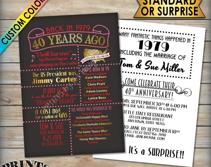 """40th Anniversary Invitation, Married in 1979 Flashback 40 Years Ago in 1979, Chalkboard Style PRITNABLE 5x7"""" 40th Anniversary Party Invite"""