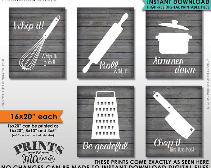 "Funny Kitchen Signs, Kitchen Decor Utensil Art, Whip It Grateful Roll Chop Simmer, Five 16x20"" Rustic Wood Style Printable Instant Downloads"