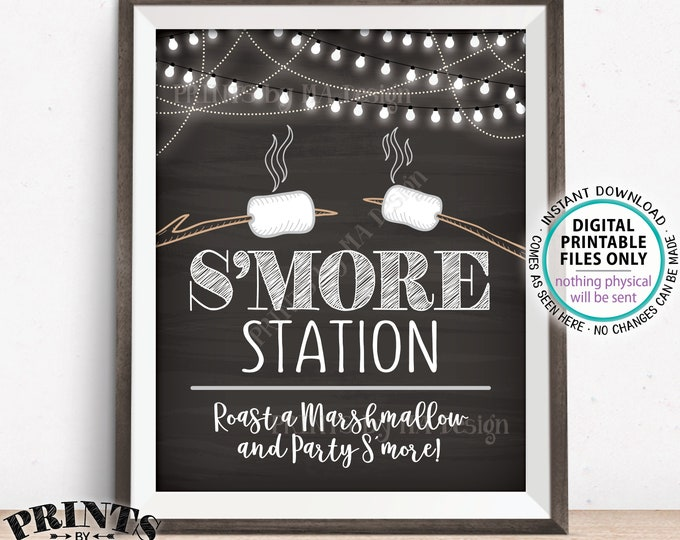 "S'more Station Sign, Roast a Marshmallow and Party S'more, PRINTABLE 8x10"" Chalkboard Style Smore Sign <ID>"