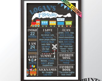 "Train Birthday Poster, 1st Birthday Board Train Theme Birthday Stats Milestones, Chalkboard Style PRINTABLE 24x36"" Custom First B-day Board"