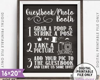 "Guestbook Photobooth Sign Add photo to the Guest Book Sign Photo Booth Wedding Sign, PRINTABLE 8x10/16x20"" Chalkboard Style Photo Sign <ID>"