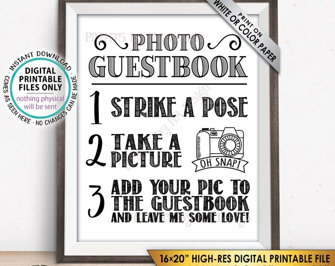 """Photo Guestbook Sign Add photo to the Guest Book Sign, Birthday, Graduation Party, PRINTABLE 8x10/16x20"""" Instant Download Guestbook Sign"""