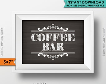 "Coffee Bar Sign, Coffee Sign, Beverage Station, Wedding Shower Reception Graduation Party, 5x7"" Chalkboard Style Printable Instant Download"