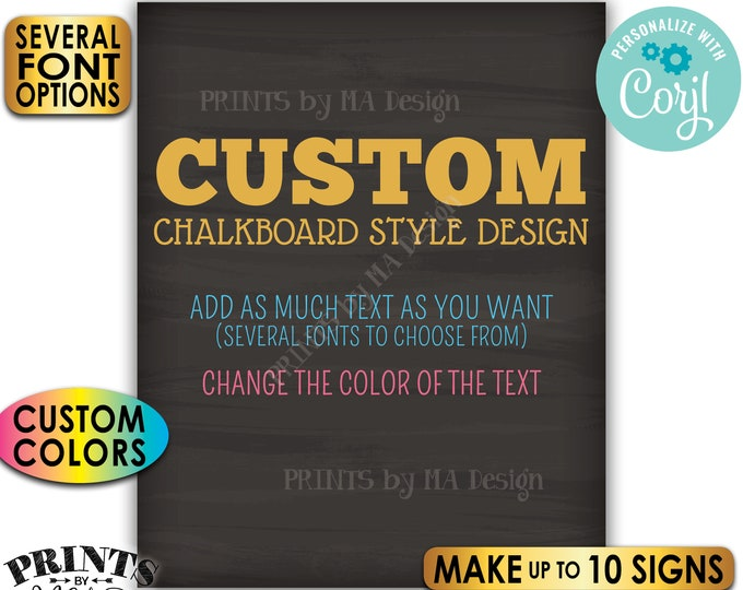 """Custom Chalkboard Style Posters, Choose Text/Colors, Create Up to 10 PRINTABLE 8x10/16x20"""" Portrait Signs <Edit Yourself with Corjl>"""