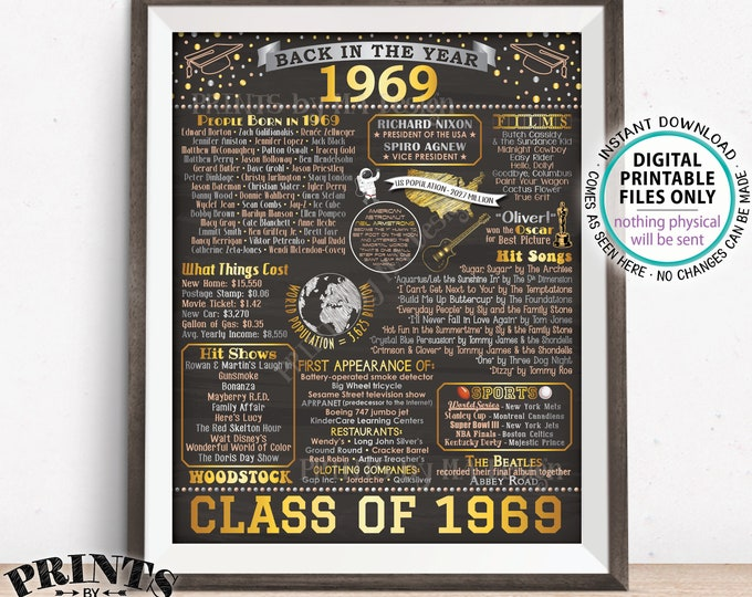"""Back in 1969 Poster Board, Class of 1969 Reunion Decoration, Flashback to 1969 Graduating Class, PRINTABLE 16x20"""" Sign <ID>"""