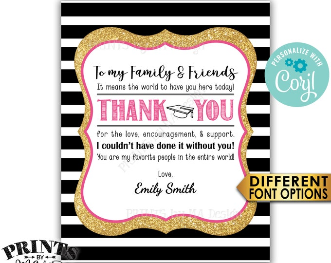 """Grad Thank You Sign, Graduation Party Decoration, Black Pink & Gold Glitter PRINTABLE 8x10"""" Sign <Edit Yourself with Corjl>"""