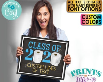 """Editable Class of 2020 Toilet Paper Sign, Custom Text, One PRINTABLE 8x10/16x20"""" Chalkboard Style TP Sign <Edit Yourself with Corjl>"""