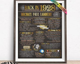 """1928 Birthday Flashback Poster, Remember 1928 Birthday Party Poster, Custom PRINTABLE 16x20"""" Back in 1928 B-day Sign"""