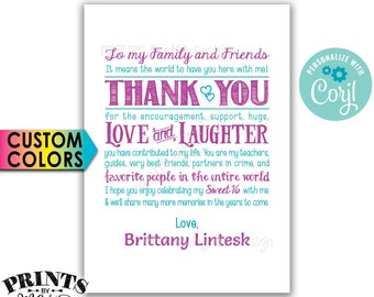 "Sweet 16 Thank You Sign, Sweet Sixteen Birthday Party, PRINTABLE 5x7"" 16th Bday Sign <Edit Yourself with Corjl>"