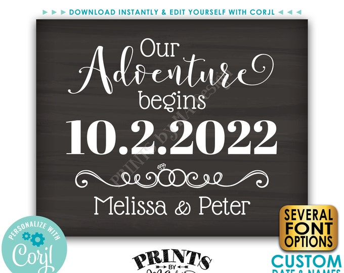 "Our Adventure Begins Sign, Engagement Party Decoration, PRINTABLE 8x10/16x20"" Chalkboard Style Engagement Sign <Edit Yourself with Corjl>"