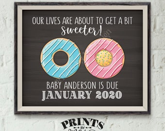 "Donut Pregnancy Announcement, Our Lives are About to Get Sweeter, PRINTABLE Chalkboard Style 8x10/16x20"", Doughnut Pink or Blue Baby Reveal"