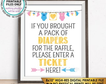 """Diaper Raffle Ticket Sign, Enter a Raffle Ticket Here, Baby Shower Raffle Ticket Sign, PRINTABLE 8x10"""" Instant Download Baby Shower Sign"""
