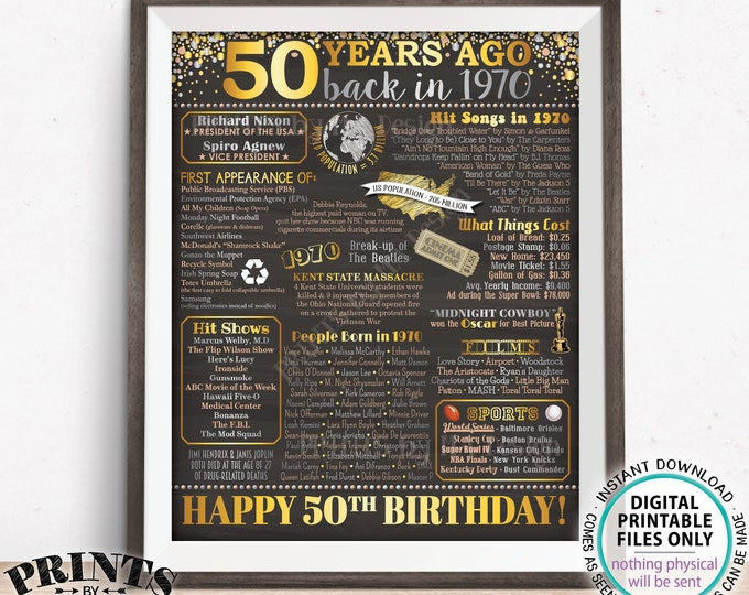 """50th Birthday Poster Board, Back in 1970 Flashback 50 Years Ago, Born in 1970 Bday Decor, PRINTABLE 16x20"""" Sign <ID>"""