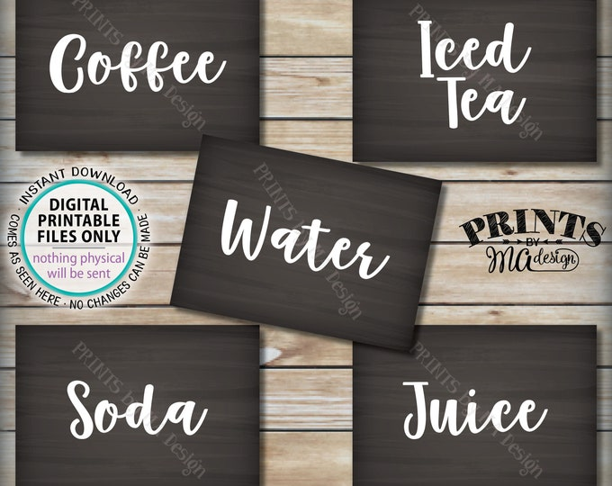 "Beverage Station Signs, Non-Alcoholic Drink Signs, Soda, Juice, Water, Coffee, Iced Tea, Five PRINTABLE 5x7"" Chalkboard Style Signs <ID>"