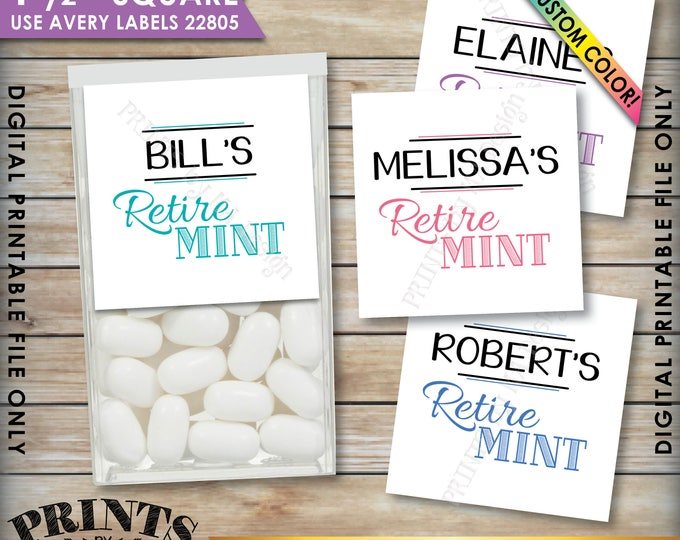 "Retirement Party Tic Tac Labels, Retire MINT Stickers, Retire-Mints Stickers, Retirement Favors, PRINTABLE 1.5"" Square Tic Tacs Stickers"
