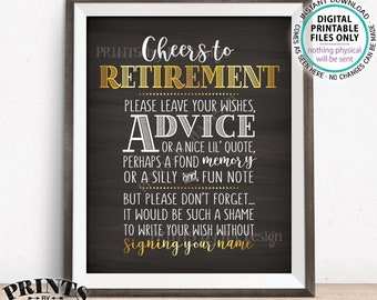 """Cheers to Retirement Party Sign, Leave Your Wish Advice Memory for the Retiree Celebration, Gold, PRINTABLE Chalkboard Style 8x10"""" Sign <ID>"""