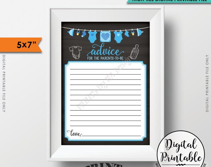 "Advice for the New Parents Advice Cards, Baby Shower Activity, Baby Game, Blue Clothesline, Instant Download 5x7"" Chalkboard Style Printable"