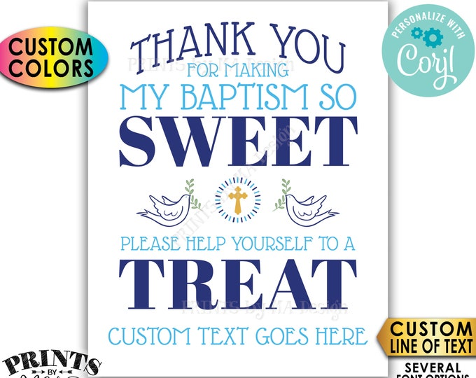 "Thank You for Making My Baptism so Sweet Please help yourself to a Treat, Custom PRINTABLE 8x10/16x20"" Sign <Edit Yourself with Corjl>"