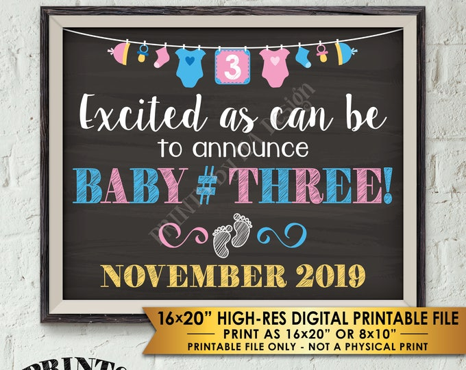 "Baby Number 3 Pregnancy Announcement, Baby #3 Expecting Third Child, Chalkboard Style PRINTABLE 8x10/16x20"" 3rd Baby Reveal"