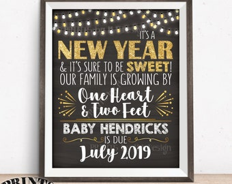 """New Years Pregnancy Announcement Our Family is Growing by 1 Heart & 2 Feet, Custom Chalkboard Style PRINTABLE 8x10/16x20"""" Pregnancy Reveal"""