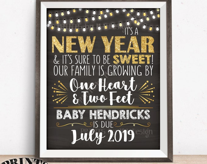 "New Years Pregnancy Announcement Our Family is Growing by 1 Heart & 2 Feet, Custom Chalkboard Style PRINTABLE 8x10/16x20"" Pregnancy Reveal"