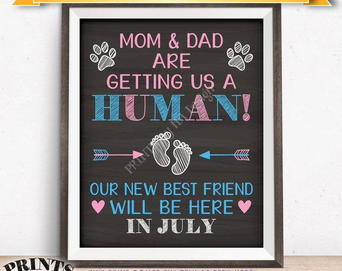 Pets Pregnancy Announcement Sign, Mom & Dad are Getting Us a Human in JULY Dated Chalkboard Style PRINTABLE Baby Reveal for Dogs/Cats <ID>