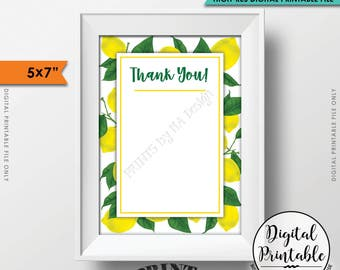 "Lemon Thank You Card, Lemon Themed Celebration, Tuscan Garden Party, Tropical Summer Lemons, Italy Party, 5x7"" Printable Instant Download"