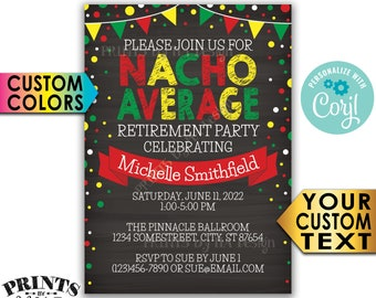 "Nacho Average Retirement Party Invitation, Taco Fiesta, Retire, Custom PRINTABLE 5x7"" Chalkboard Style Invite <Edit Yourself with Corjl>"