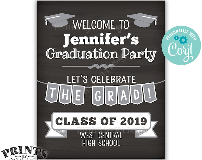 """Graduation Party Decorations, Welcome to the Graduation Party, PRINTABLE 8x10/16x20"""" Chalkboard Style Sign <Edit Yourself with Corjl>"""