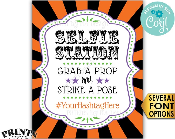 "Halloween Hashtag Sign, Grab a Prop & Strike a Pose, PRINTABLE 8x10/16x20"" Selfie Station Carnival/Circus Sign <Edit Yourself with Corjl>"