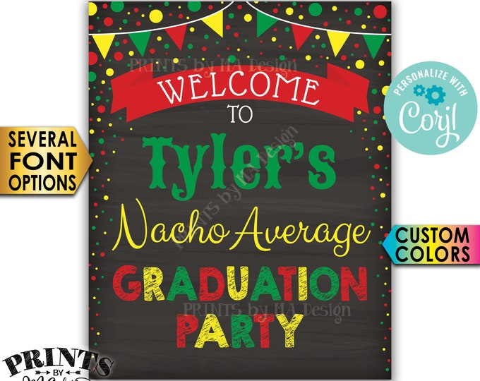 "Nacho Average Graduation Party Sign, Graduation Party Decorations, PRINTABLE 8x10/16x20"" Chalkboard Style Sign <Edit Yourself with Corjl>"