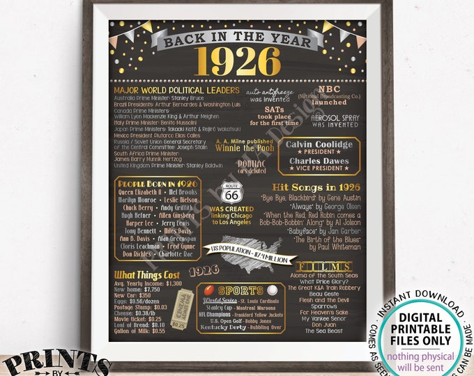 "Back in the Year 1926 Poster Board, Remember 1926 Sign, Flashback to 1926 USA History from 1926, PRINTABLE 16x20"" Sign <ID>"