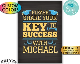 "Graduation Advice Sign, Please share your Key to Success with the Grad, Custom PRINTABLE 5x7"" Chalkboard Style Sign <Edit Yourself w/Corjl>"