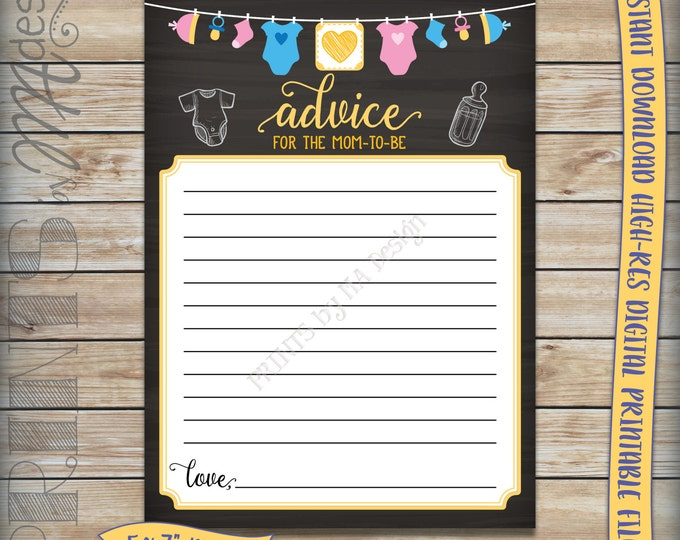 "Mom-to-Be Advice Cards, Advice for Mom Baby Shower Activity, Gender Neutral Clothesline Chalkboard, 5x7"" Instant Download Digital Printables"