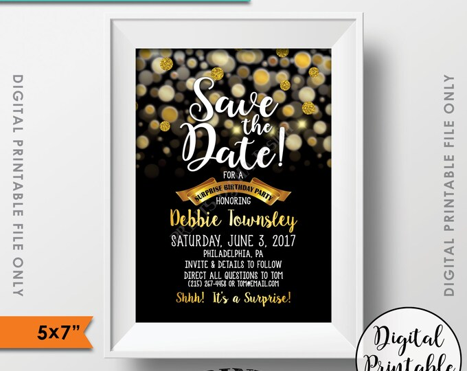 """Save the Date for a Surprise Birthday Party Black & Gold Glitter Surprise Birthday Save the Date Gold Birthday, PRINTABLE 5x7"""" Save the Date"""